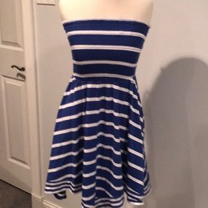 Guess bluewhite striped tube top dress